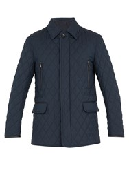 Brioni Diamond Quilted Wool And Silk Blend Field Jacket Navy