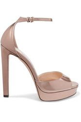 Jimmy Choo Pattie 130 Metallic Leather Platform Sandals Gold