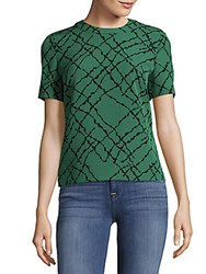 Jones New York Abstract Printed Crewneck Top Green
