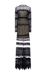Costarellos Layered Guipure Lace Long Dress Black