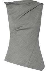 Narciso Rodriguez Gathered Asymmetric Wool Top Gray