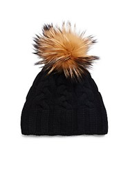 Saks Fifth Avenue Contrasting Dyed Fox Fur Cashmere Cap Natural