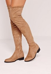 Missguided Flat Over The Knee Boots Nude Beige