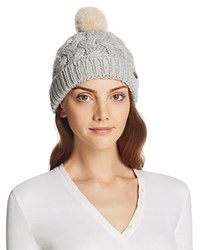 Barbour Cable Beanie With Faux Fur Pompom Silver Ice