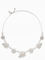 Kate Spade Crystal Rose Necklace Clear Silver