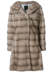 Liska Valencia Hooded Fur Coat Nude And Neutrals