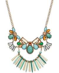 Bar Iii Gold Tone Green And Natural Stone Statement Necklace