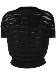 Comme Des Garcons Junya Watanabe Layered Ribbed Cropped Blouse Black
