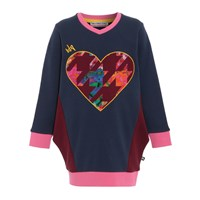 Mini Street Style Big Heart Jumper Dress Sweater Blue
