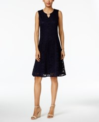 Jm Collection Petite Lace A Line Dress Intrepid Blue