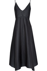 Christophe Lemaire Asymmetric Cotton And Silk Blend Dress Midnight Blue
