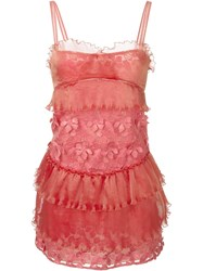 Giamba Floral Appliqua Ruched Dress Pink And Purple