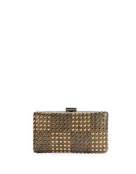 Sondra Roberts Embellished Faux Leather Minaudiere Gold