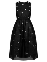 Jupe By Jackie Floral Embroidered Cotton Organdie Dress Black White