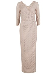 Gina Bacconi Long Corded Disc Lace Wrap Dress Summer Beige