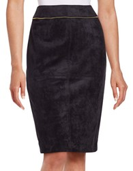 Calvin Klein Petite Faux Seude Pencil Skirt Navy