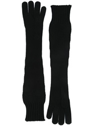 Dolce And Gabbana Long Knit Gloves Black