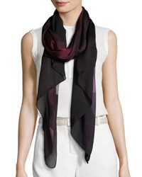 Burberry Ombre Washed Check Silk Scarf Plum