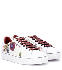 Etro Printed Leather Sneakers White