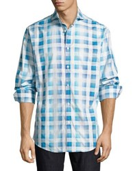 Neiman Marcus Regular Finish Cotton Check Shirt Blue