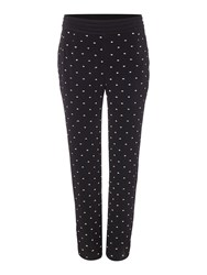 Biba Embroidered Viscose Slouch Trouser Black