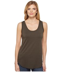Three Dots Lightweight Viscose Long Tank Tapenade Women's Sleeveless Brown