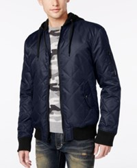 American Rag Men's Quilted Hooded Bomber Jacket Only At Macy's Medieval Blue