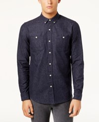 Ezekiel Men's Button Down Chambray Shirt Dark Blue