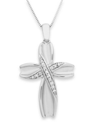 Macy's Diamond Satin Cross Pendant Necklace In Sterling Silver 1 10 Ct. T.W.
