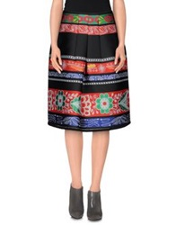 Hache Knee Length Skirts Red