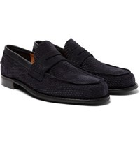 Cheaney Dover D Perforated Suede Penny Loafers Navy