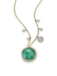 Meira T Emerald Diamond And 14K Yellow Gold Pendant Necklace Gold Emerald