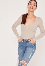 Missguided Plunge Knitted Bodysuit Nude Grey