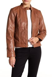 Cole Haan Front Zip Lamb Skin Leather Moto Jacket Hickory
