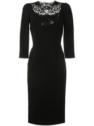 Dolce And Gabbana Lace Insert Fitted Dress Black