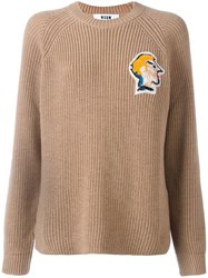 Msgm Beaded Face Patch Jumper Nude Neutrals