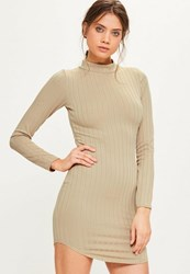Missguided Nude Curve Hem High Neck Bodycon Thick Rib Dress Beige