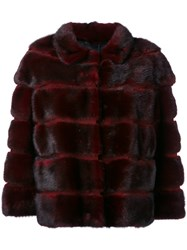 Simonetta Ravizza Stripe Detail Jacket Women Silk Mink Fur 40 Red