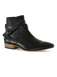 Topman Brown Black Leather Buckle Boots