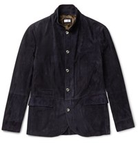 Brunello Cucinelli Slim Fit Suede Jacket Blue