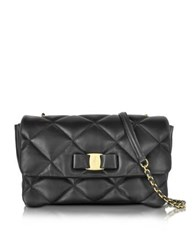 Salvatore Ferragamo Medium Quilted Vara Messenger Bag Black
