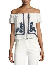 Romeo And Juliet Couture Floral Embroidered Gauze Peasant Top White