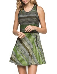Andrew Marc New York Fit And Flare Racerback Dress Black Green