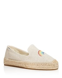 Soludos Women's Rainbow Embroidered Platform Espadrille Smoking Slippers Sand
