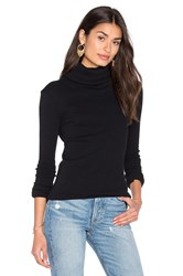 Enza Costa Cashmere Rib Long Sleeve Turtleneck Top Black