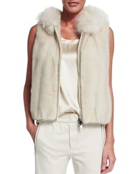 Brunello Cucinelli Hooded Mink Fur Vest Vanilla