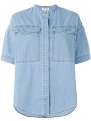 Kenzo Boxy Chambray Shirt Women Cotton Polyester 38 Blue