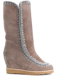 Mou Wedged Eskimo Boots Suede Wool Rubber Nude Neutrals