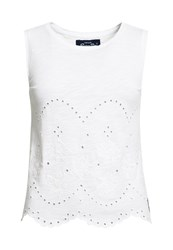 Superdry Cutwork Slub Shell Top White