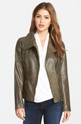 Petite Women's Bernardo Leather Moto Jacket Olive